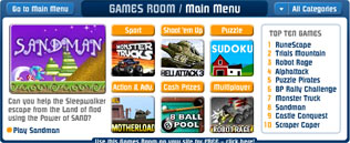 screenshot of the Miniclip gamesroom